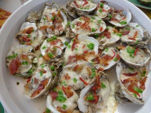 Oysters, baked with bacon, jalapeno, and truffle cheese 1