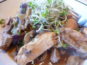 Stir-fry Chicken, Pork, Eggplant, and Napa Cabbage from Clifford A. Wright's One-Pot Wonders