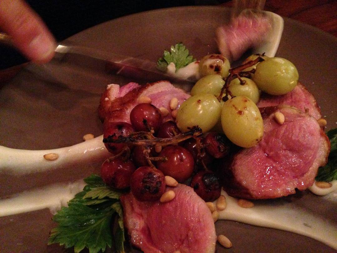 Duck breast with roasted grapes