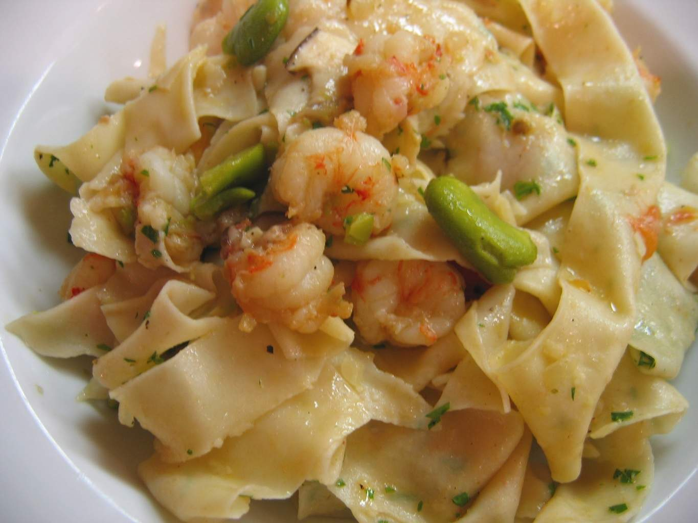 Pappardelle with Rock Shrimp, Porcini Mushrooms, and Fava (CAWCOM)CC