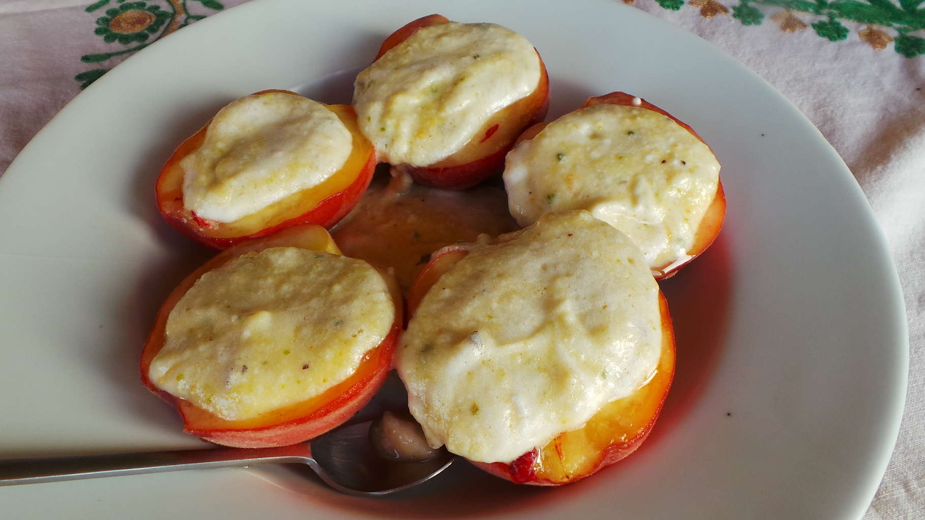 Peaches with Ricotta, Pistachio, and Apricot Preserve Sauce (CAWCOM) (3)