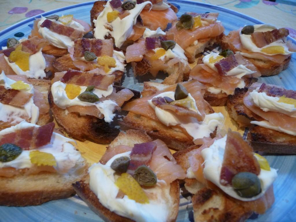Smoked Salmon and Mascarpone Canapes (1)
