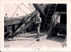 The author in 1957 on board replica of Santa Maria in Barcelona