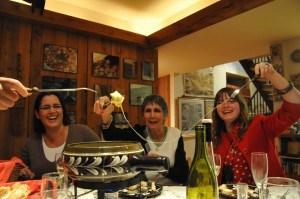 Fondue-Dyala, Helen, Ally Sitterly laughing