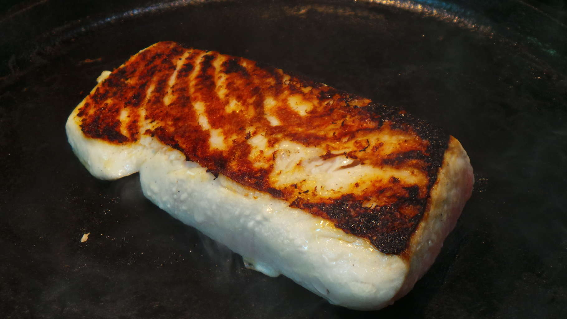 Cast iron griddle and a simple fish halibut for How to cook halibut fish