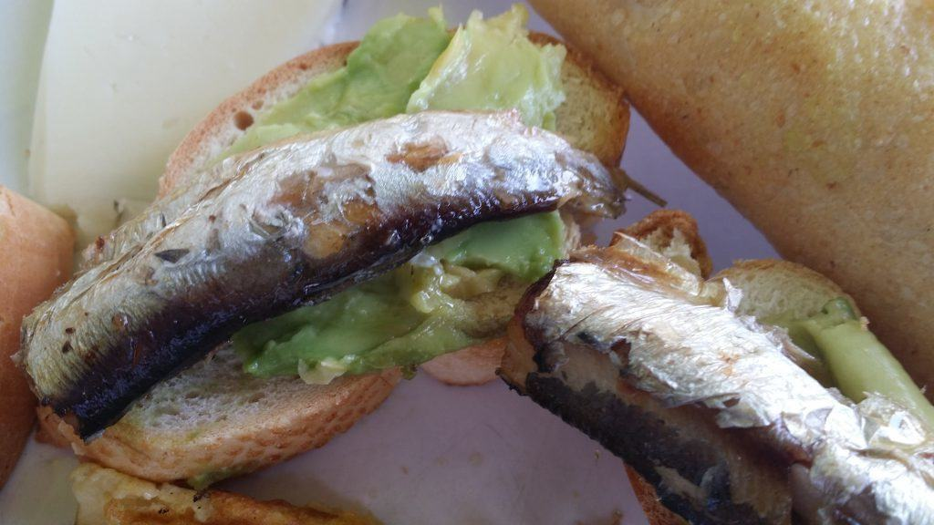 Canape of Sardine and Avocado